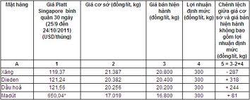 Mẫu bảng tổng hợp phí xăng dầu
