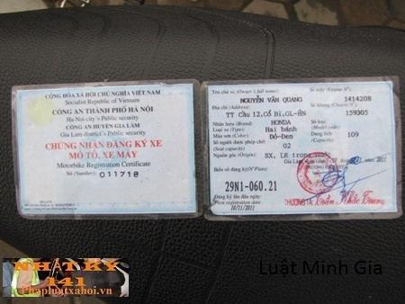 Thời hạn xin cấp lại giấy chứng nhận đăng ký xe.