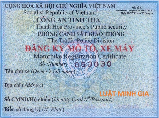Hỏi về việc đăng ký xe và biển số xe