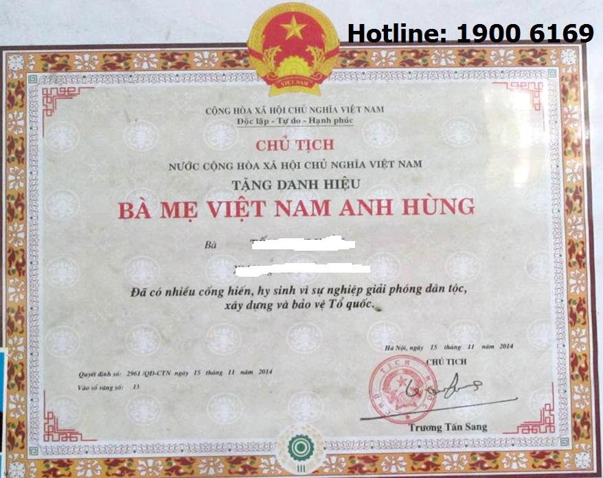 Tư vấn về chính sách ưu đãi Bà mẹ Việt Nam anh hùng?
