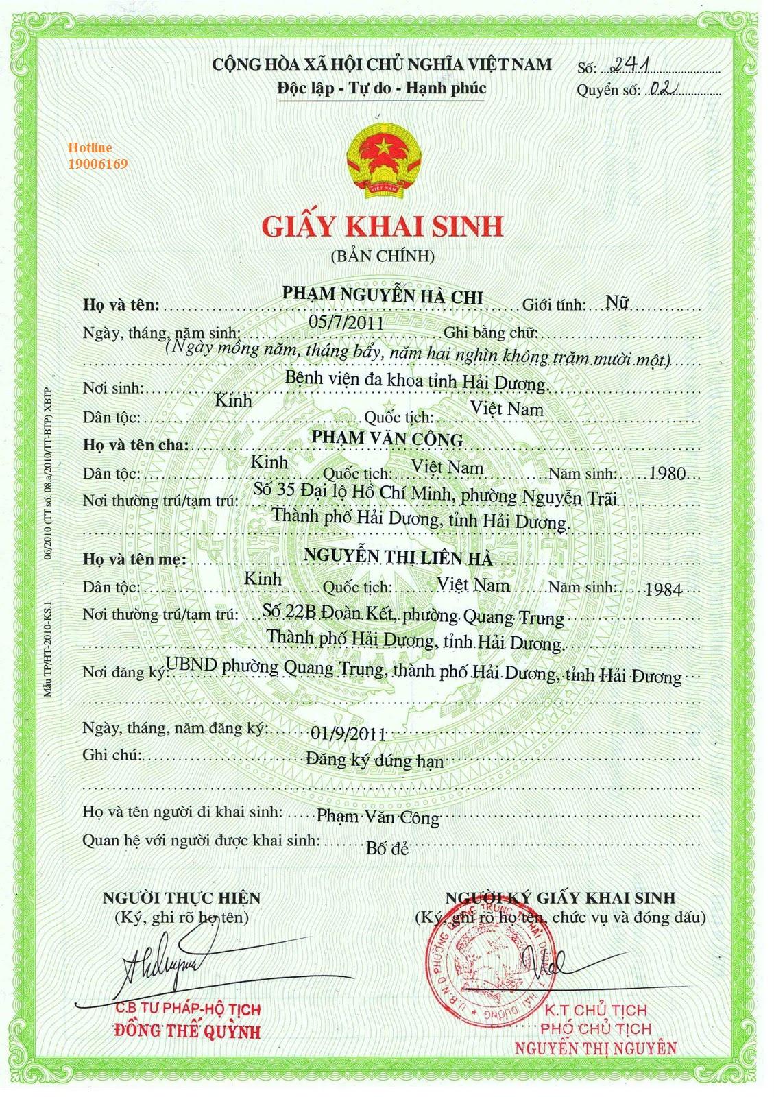 Khai sinh cho con có mẹ là người Việt, bố là người nước ngoài.