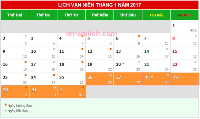 Tết nguyên đán Đinh Dậu 2017 (âm lịch) được nghỉ mấy ngày?